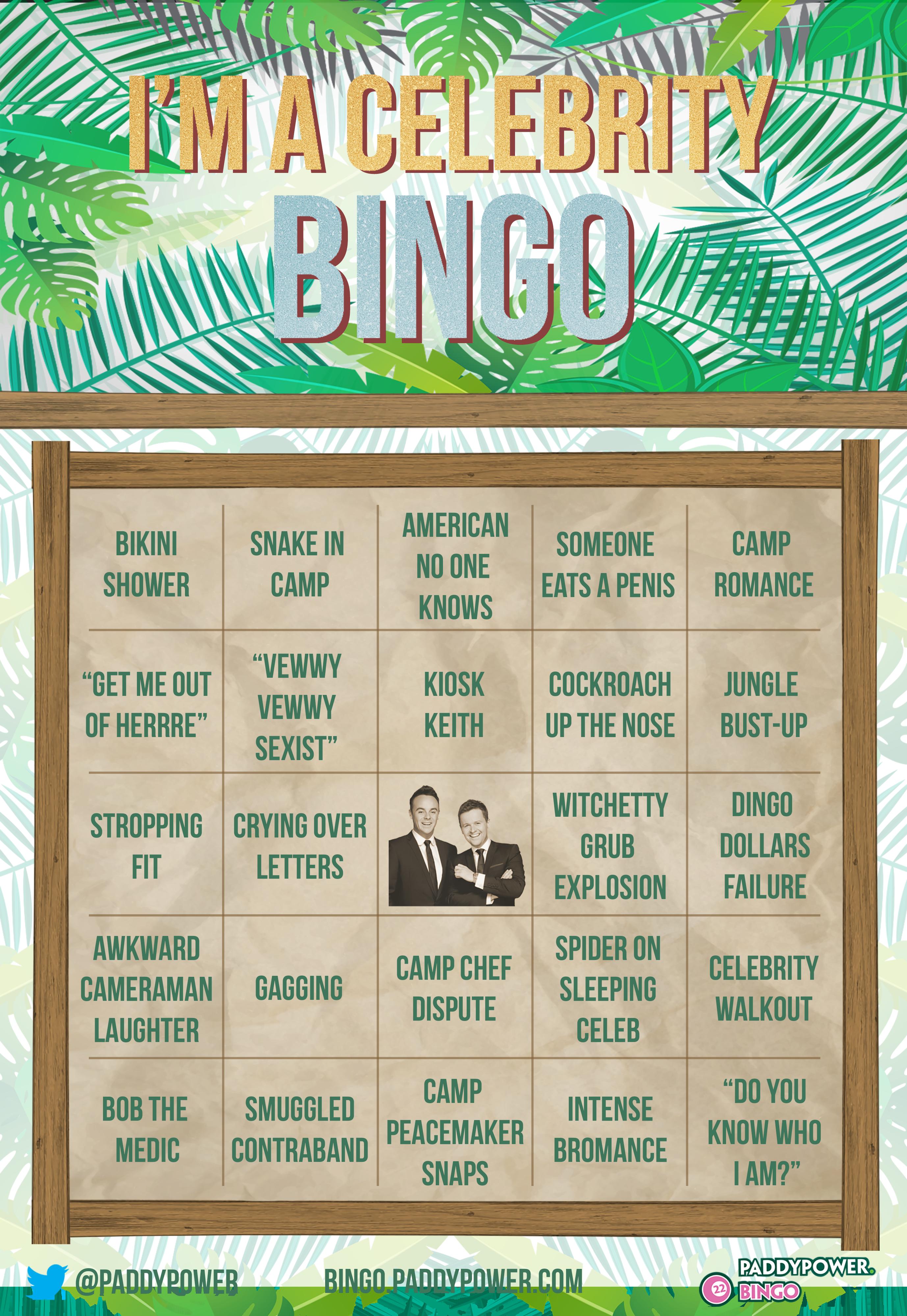 I'm A Celeb Bingo Card