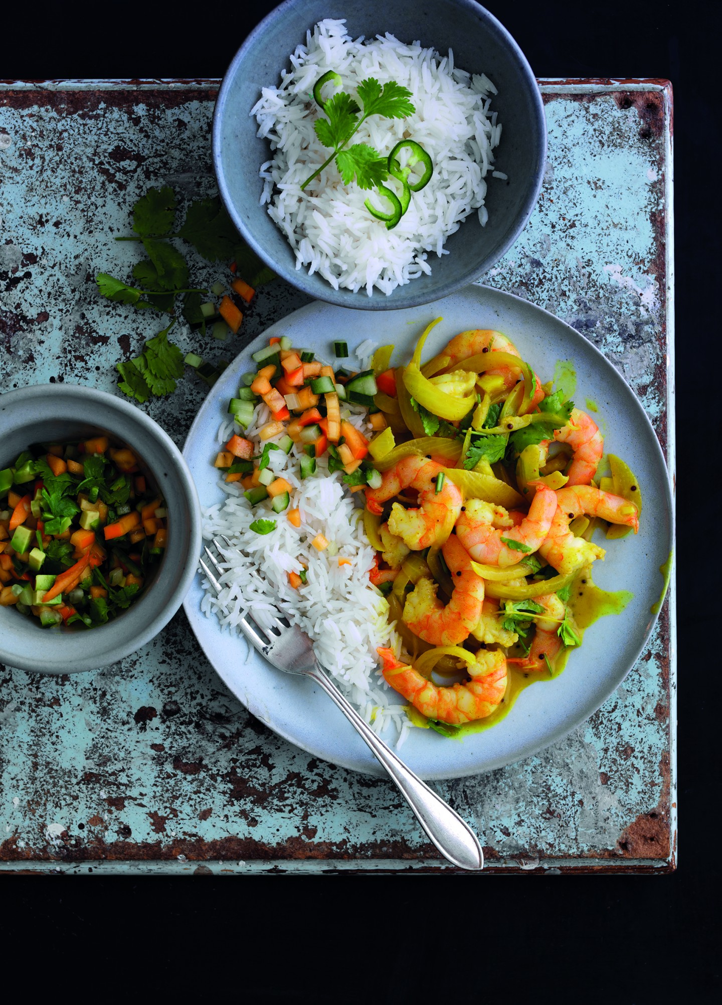 KING PRAWN CURRY WITH PERSIMON KACHUMBER