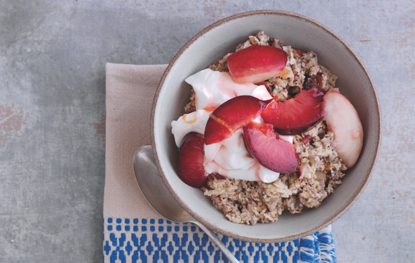 Poached Peach and Plum Festive Breakfast Recipe