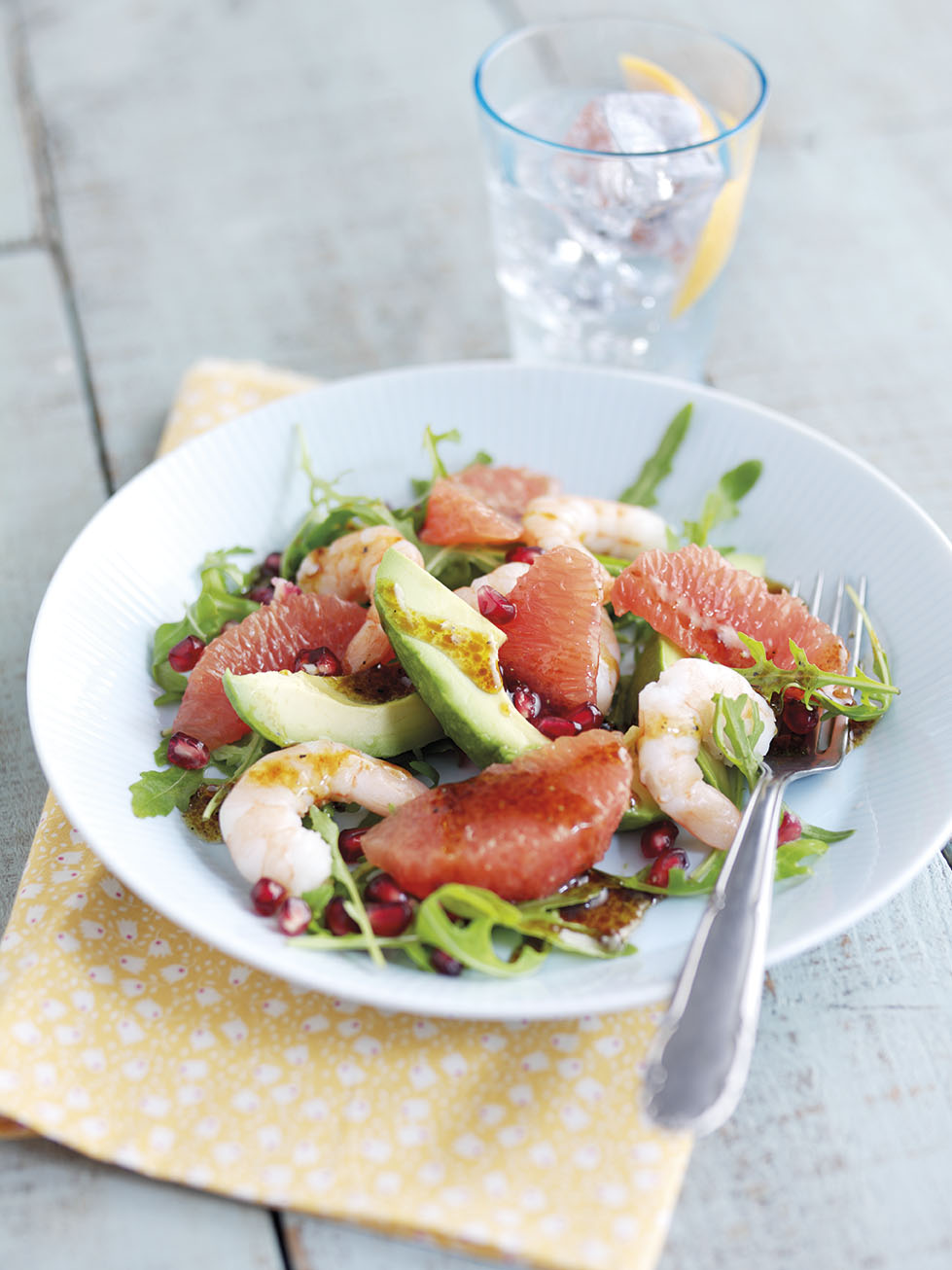 Avocado, Pink Grapefruit, Pomegranate and Prawn Salad