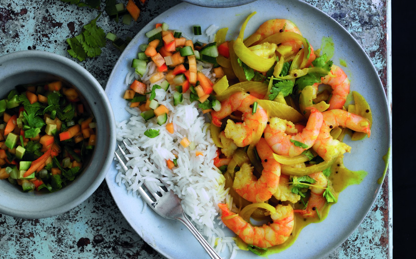 King Prawn Curry with Persimon Kachumber Recipe