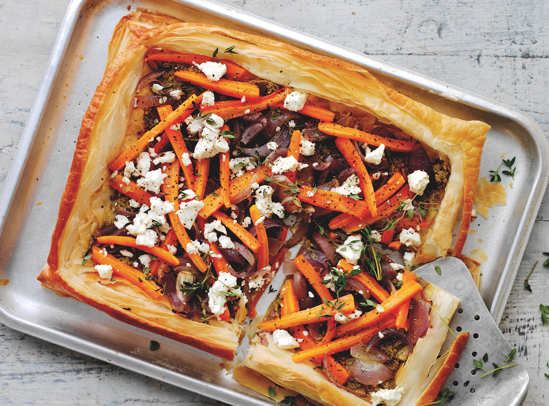 Carrot, Feta, and Red Onion Tart