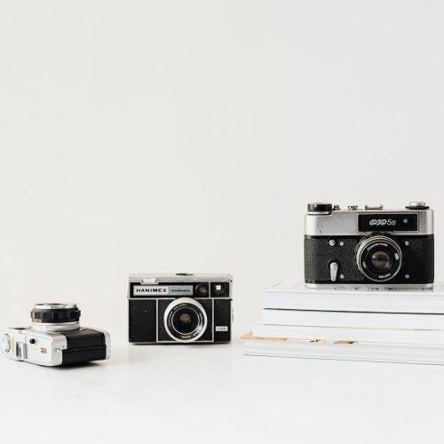 cameras on white background