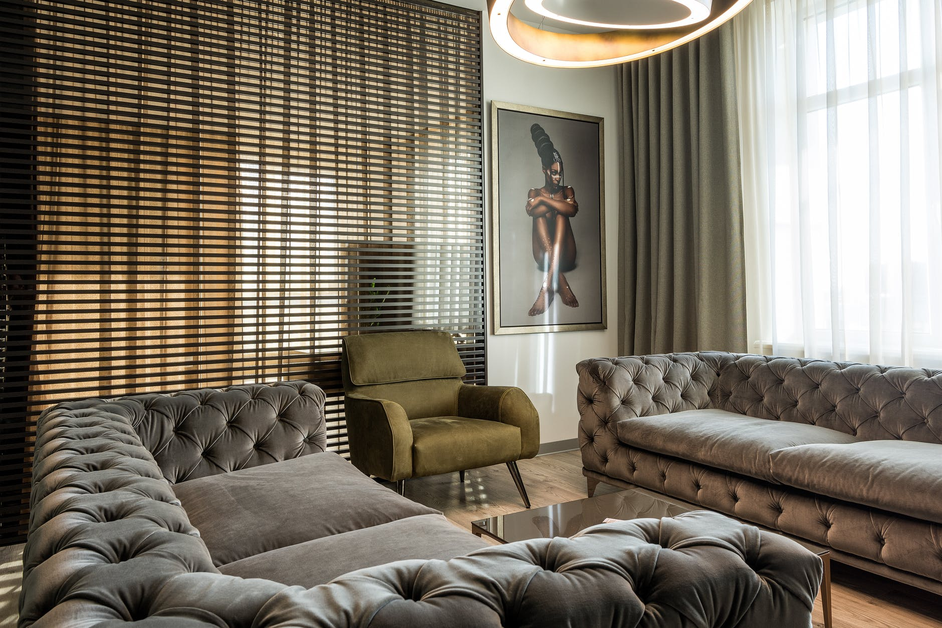 stylish lounge room in cozy apartment