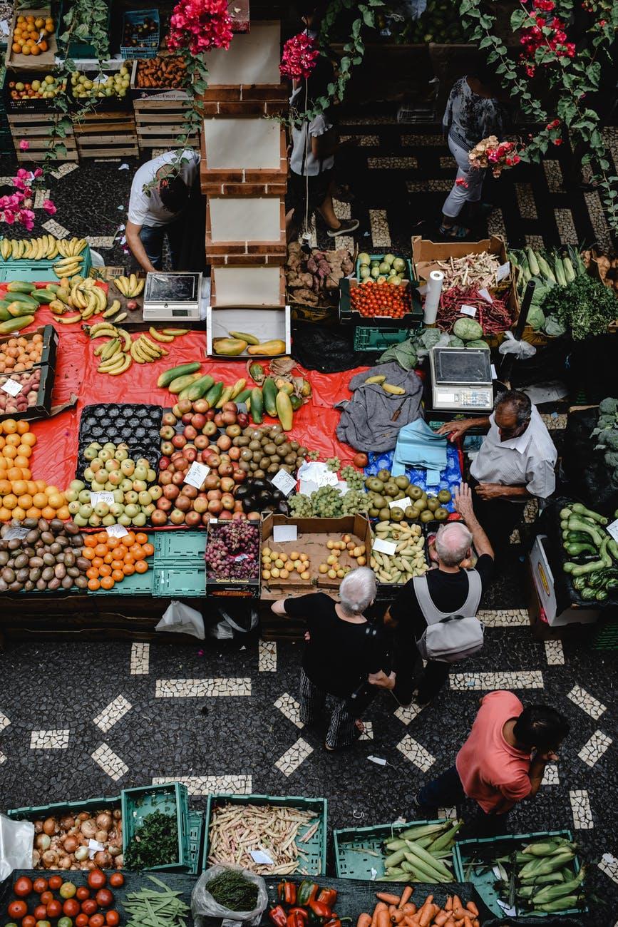 food vegetables city people