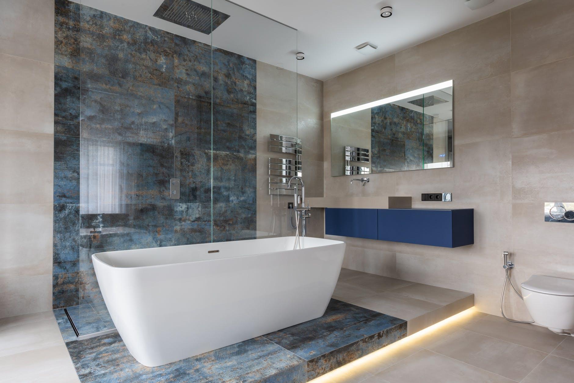 modern bathroom interior with freestanding tub